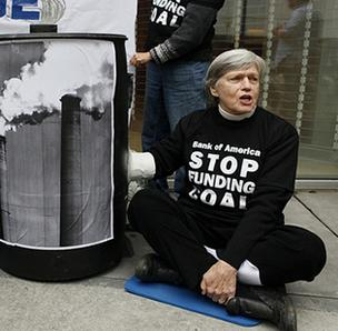 Charlotte resident Pat Moore, 75, and eight others were arrested outside of four Bank of America branches in Charlotte as part of a protest against coal financing.