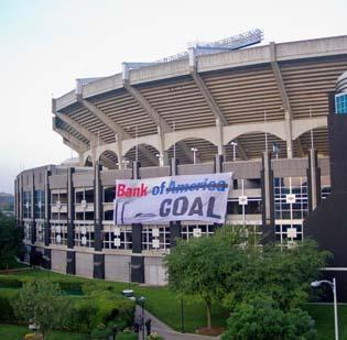 Activists from Rainforest Action Network scaled the walls of Bank of America Stadium in May to hang a banner criticizing Charlotte-based BofA for its financing of coal projects.