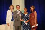 Bria Clyburn (second from right) was named winner of the 2012 JA BizTown CFO Award. Junior Achievement of Central Carolinas' BizTown program utilizes experiential learning for students through lessons designed to resemble the real-life workplace.