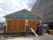 Habitat for Humanity constructed a house in the Legacy Village area of CarolinaFest on Monday.