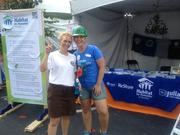 Volunteers for Habitat for Humanity constructed a house uptown during Monday's CarolinaFest.