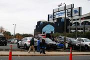 Carolina Panthers fans head for Bank of America Stadium for Sunday's game against the Tampa Bay Buccaneers.