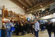 Fans stock up on snacks and drinks during halftime at Sunday's Carolina Panthers game.