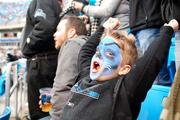 This little fan was really getting into the Sunday Carolina Panthers' game against the Tampa Bay Buccaneers.