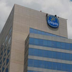 Chiquita unveiled its logo atop the NASCAR Plaza building in uptown Charlotte in June.