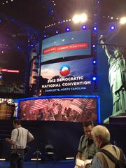 The stage is set at Time Warner Cable Arena for Tuesday night's official kick-off of the Democratic National Convention.