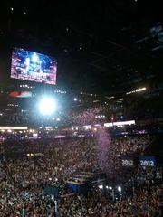 Confetti rained down on the crowd at Time Warner Cable Arena at Thursday's conclusion of the Democratic National Convention. Click here for more on the convention's final night in Charlotte.