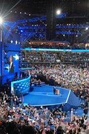 The full house at Time Warner Cable Arena cheers as President Obama is introduced on the final night of the DNC in Charlotte.