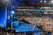President Obama accepts the Democratic Party's nomination from the floor at Time Warner Cable Arena in Charlotte.
