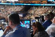 The final night of the Democratic National Convention is broadcast to the nation on multiple news stations from uptown Charlotte.