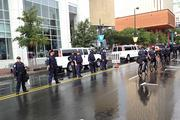 Police line the streets, ensuring the protesters marching uptown keep to the sidewalks.Click here for more on that protest.