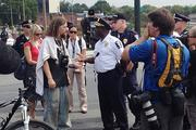 Charlotte Mecklenburg Police Chief Rodney Monroe speaks to protesters attempting to march uptown Tuesday afternoon.Click here for more on that protest.