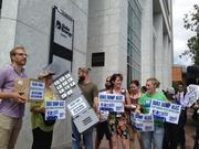 Protesters gather outside Duke Energy Center on Wednesday, day two of the DNC.