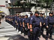 Police officers were out in force during Sunday's protests.