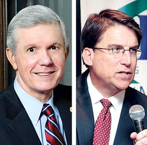 Gubernatorial candidates Walter Dalton, left and Pat McCrory both campaigned in Charlotte on Tuesday.