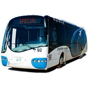 Several of DesignLine's hybrid electric buses are in service at Charlotte Douglas International Airport.