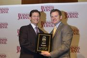 Rob Phocas, sustainability manager for the city of Charlotte, receives a CBJ Energy Leadership award.