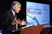 Michael Dukakis, distinguished professor of political science and distinguished fellow of the Dukakis Center for Urban and Regional Policy at Northeastern University, former Democratic presidential nominee and former governor of Massachusetts, gives a presentation at the 2012 Excellence in Health Care Awards event. Read more about this year's class of honorees in the Oct. 5 print edition.