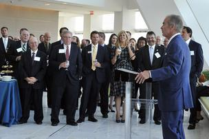 Jim Rogers speaks at the launch of the E4 Carolinas organization to promote the development of an energy industry cluster in the Carolinas.