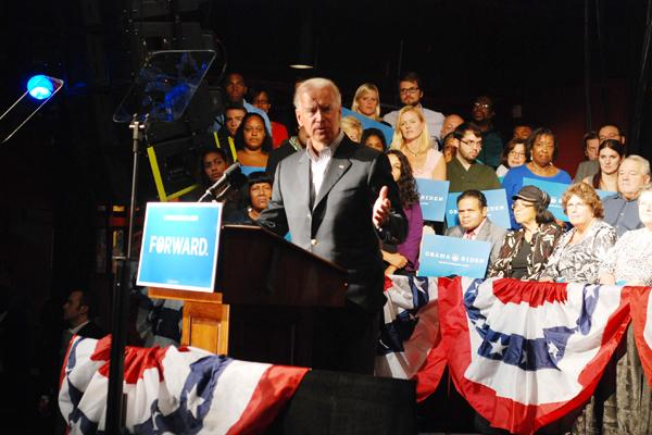 Vice President Joe Biden spoke to a crowd of about 1,050 at the N.C. Music Factory in Charlotte on Tuesday.
