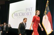 McCrory is all smiles as he follows his wife, Ann, on to the stage at The Westin after learning he'd won the governor's office.