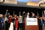 McCrory and supporters celebrate as election results show him as the winner.