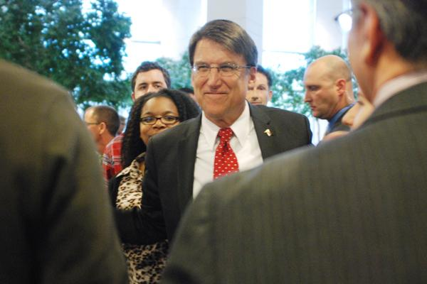 Pat McCrory, the longest-serving mayor of Charlotte, returned to the city's government center on Wednesday for the first time since leaving office in 2009. McCrory, who was sworn in as North Carolina's 74th governor on Saturday, was met by a crowd of supporters. Click here to read more on his visit.