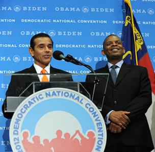 Los Angeles Mayor Antonio Villaraigosa (left), chair of the Democratic National Convention, and Charlotte Mayor Anthony Foxx gave remarks at a press conference Monday.