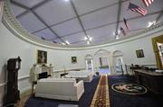 Visitors can see a reproduction of the Oval Office.