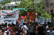 Hundreds of protesters gathered at Frazier Park and marched through uptown Charlotte on Sunday, ahead of the Democratic National Convention.Click here for more on the demonstration.