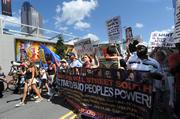 Hundreds of protesters gathered at Frazier Park and marched through uptown Charlotte on Sunday, ahead of the Democratic National Convention. Click here for more on the demonstration.