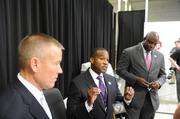 From left to right are the U.S. Department of Homeland Security's Russell Nelson, special agent in charge, Charlotte field office; Max Milien Jr., assistant special agent in charge; and Leon Newsome, DNC national special security event coordinator.