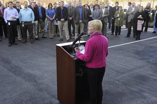 Carol Hevey, TWC executive vice president of the east region, speaks during today's dedication of the Charlotte data center.