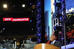Mayor Anthony Foxx welcomed DNC delegates to Charlotte in a brief speech Tuesday at Time Warner Cable Arena.