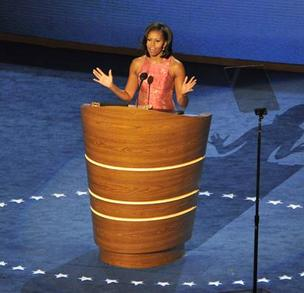 First Lady Michelle Obama is getting high marks for her speech Tuesday night in Charlotte.