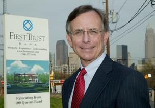 Jim Bolt is chief executive and a lead organizer of First Trust Bank, shown here in 2005 before construction of a new office near midtown in Charlotte.