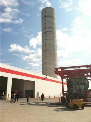 The 430-foot tower is the dominant feature of ABB Inc.'s new cable manufacturing plant.