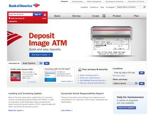 A screenshot of Bank of America's home page. The bank has suffered website glitches all week.