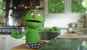A naif figure titled Lenny makes recreation of BS (Bank Speak) in LendingTree's newborn ad campaign.