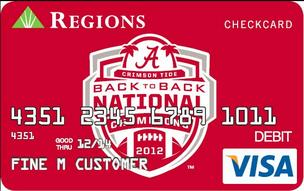 Regions is offering 'Bama fans commemorative debit cards.