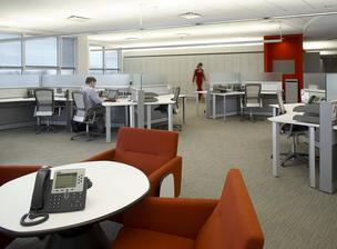 A BofA My Work center in Charlotte promotes flexible work space rather than assigned desks.