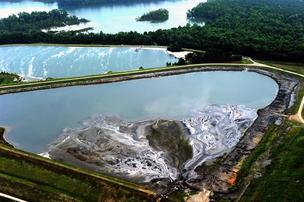 Coal ash ponds at Duke Energy's Riverbend Steam Station in Gaston County.
