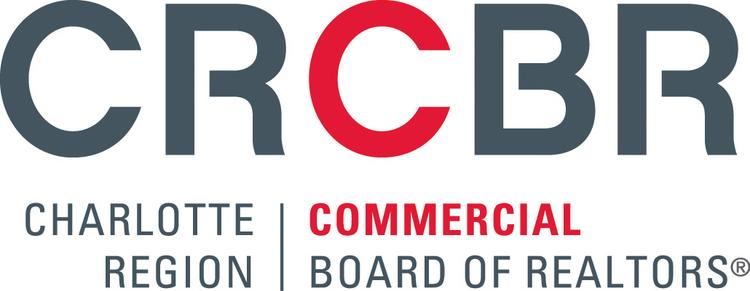 """The Charlotte Region Commercial Board of Realtors' new logo displays the """"CRCBR"""" acronym in gray hues and red accents."""