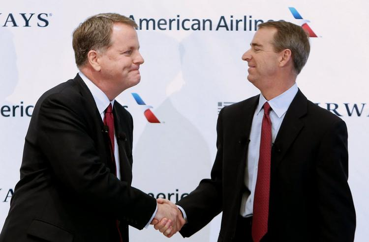 US Airways CEO Doug Parker (left) and American Airlines CEO Tom Horton.