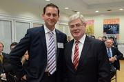 ConnectIreland Chairman Terry Clune, left, is shown with EamonGilmore,Irish minister for Foreign Affairs & Trade,at the launch of ConnectIreland at the Irish Consulate in New York City last year.