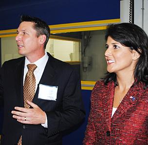 S.C. Gov. Nikki Haley and Bluestar Silicones USA  president  J. Christopher York