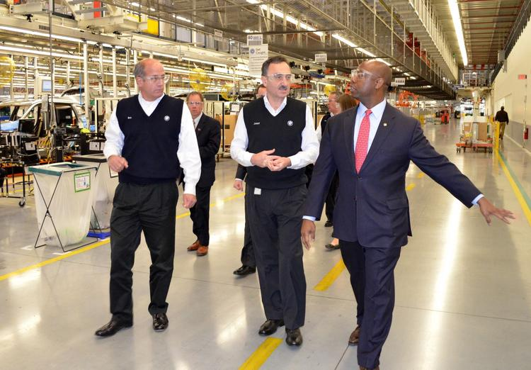 Sen. Tim Scott, R-S.C., right, tours BMW's Spartanburg plant earlier this year.