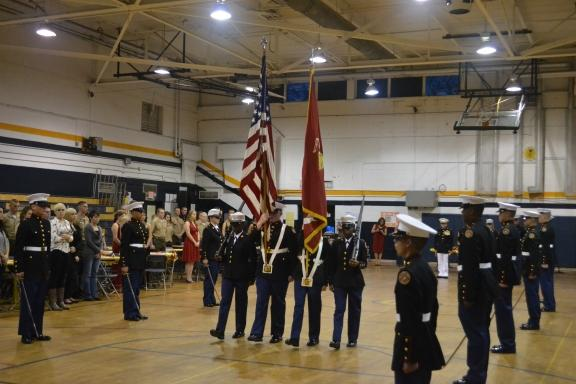 Students at South High School celebrate the birthday of the Marine Corps.