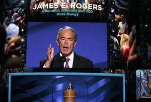 Duke CEO Jim Rogers spoke at the 2012 Democratic National Convention.