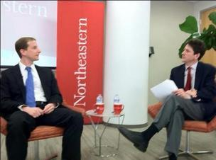 Michael Youth (left) discusses natural gas fracking with moderator Erik Spanberg.